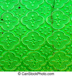 old and dirty green textured window pane - green textured...
