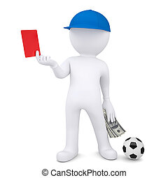 3d football referee took a bribe. Isolated render on a white...