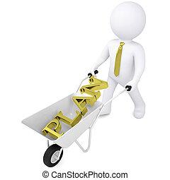 3d white man carries a wheelbarrow the golden word plan....