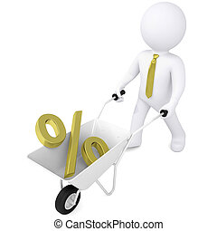 3d man carries wheelbarrow the golden percentage - 3d white...