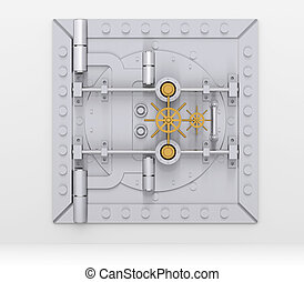 Bank vault door on gray wall - Bank vault door on a gray...