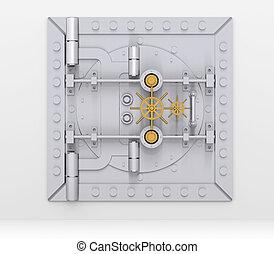 Bank vault door on gray wall - Bank vault door on a gray...