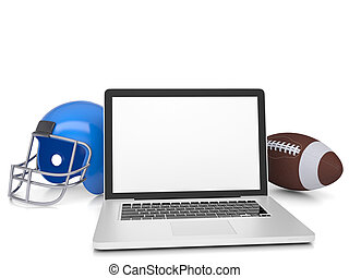 Laptop, a football helmet and ball. Isolated render on a...