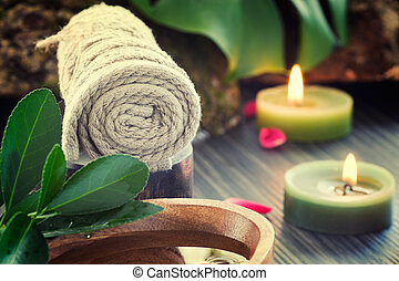 Spa setting - Natural spa setting with rose water and towel