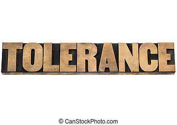 tolerance word in wood type - tolerance word - isolated text...
