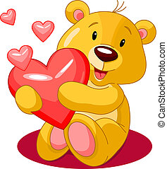 heartbear - Cute little bear holding red heart Vector...