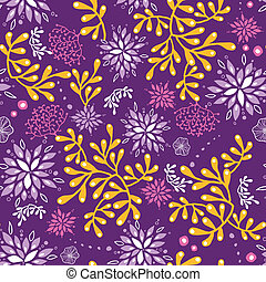 Purple and gold underwater plants seamless pattern...