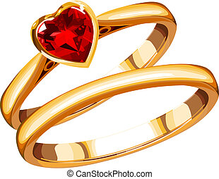 rings - wedding rings on a white background