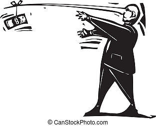 Following a Dollar - Woodcut expressionist style image of a...
