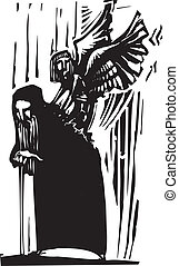 Chrysalis - Woodcut expressionist style image of a Young...