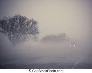 Foggy road - Low visibility on a foggy road