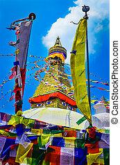 Bouddhanath stupa and buddhist flags - Bouddhanath stupa...