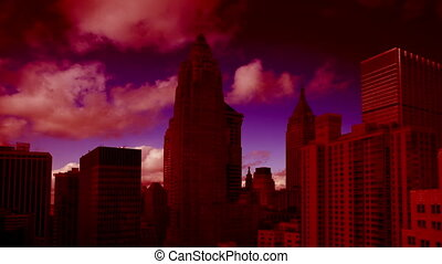amazing abstract colourful panning time-lapse of manhattan...