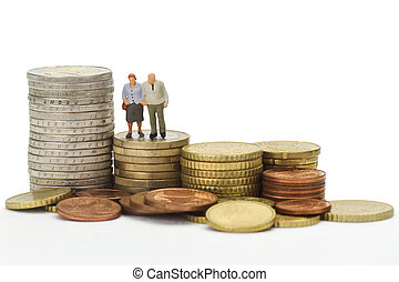 Seniors with euro coins - Seniors figurines with euro coins...