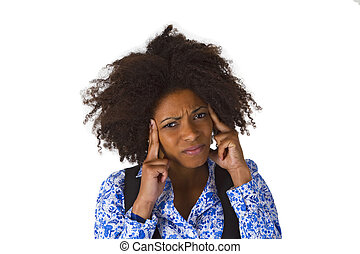 African american woman feels sick - isolated on white...