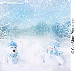 Christmas card - Christmas blue background. Snowman and...