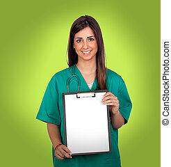Atractive medical with a blank paper on clipboard