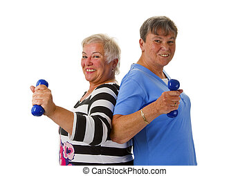 Female seniors with dumbbell