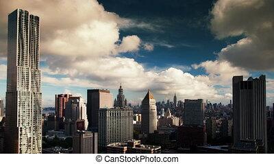 timelapse of manhattan skyline from a high vantage point