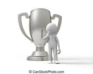 trophy - A man is standing in front of the trophy