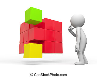 boxs ,cube - a people is standing in front of some boxs...