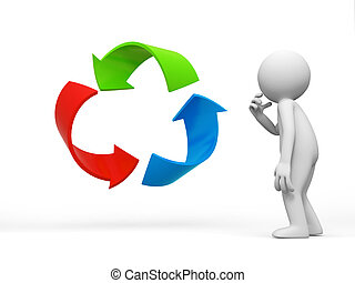 recycling symbol - a people is standing in front of a...