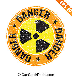 Stamp sticker Nuclear collection - Vector illustration -...