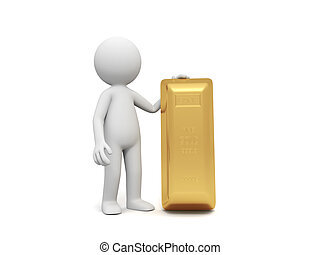 gold brick - Gold,money,A people standing with a gold brick