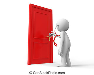 The door - Door,Stethoscope,A person listens to the door...