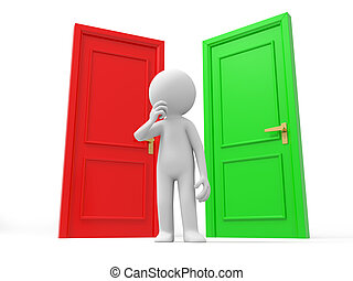 The door - Door,Choose, A Human stands between a red door...