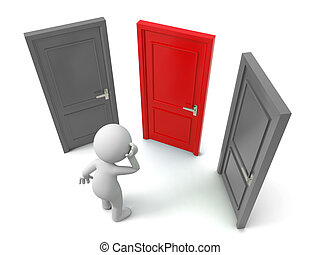 three doors - Door,Choose,A person thinking in front of...