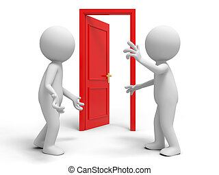 The door - Door, discuss, two people discuss in front of a...