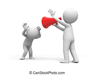 Speaker,a person shouts to anther person with a speaker