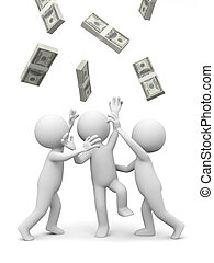 dollars - Dollar,three people snatching bundles of dollars
