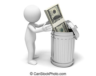 Dollars and dustbin - Dollar,dustbin,a man throw a bundle of...
