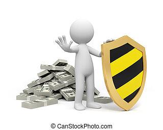 Dollars and shield - Dollar,shield,a man protecting his...