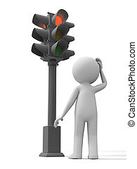 Traffic light - a man standing in front of a traffic light