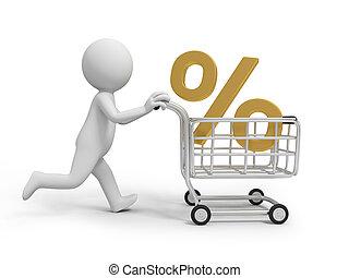 Percent symbol - A 3d person/ a percent symbol in the...
