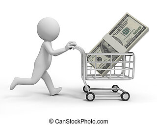 money - A 3d person/ a pile of money in the shopping cart