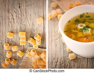 Collage Vegetable soup with pasta