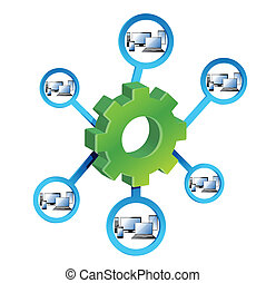 Network Diagram and gears illustration design over a white...