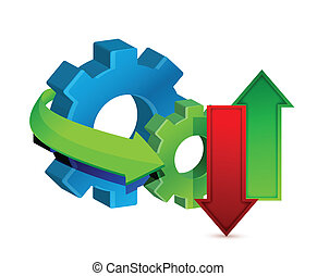 Data Transfer and Gears illustration design over a white...