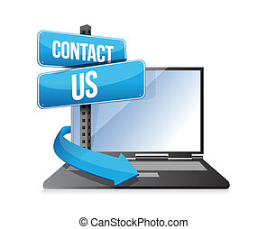 contact us sign and laptop illustration design over white