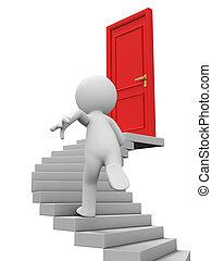 The door - Door,run,stairs,A person runs to the door on the...