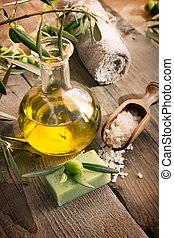 Natural spa setting with olive products - Natural spa...