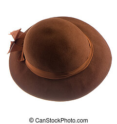 Brown vintage hat isolated on white background