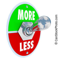 More Vs Less Toggle Switch On Off Increase Higher Amount -...