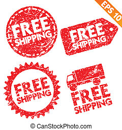 Stamp stitcker Free Shipping tag collection - Vector...