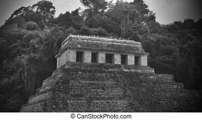 timelapse shot of the mayan ruins at palenque, mexico. the...