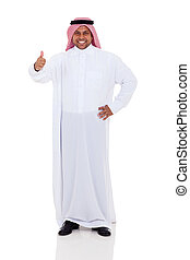 arabic man giving thumb up - cheerful arabic man giving...